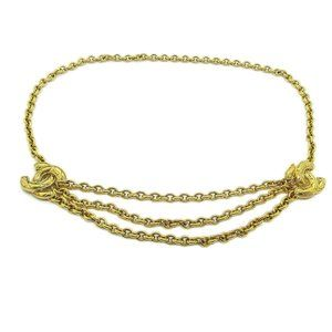 CHANEL CC Quilted Charm Gold Chain Belt